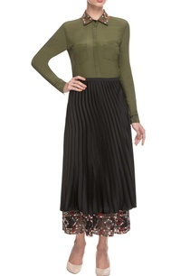 black-olive-skirt-set