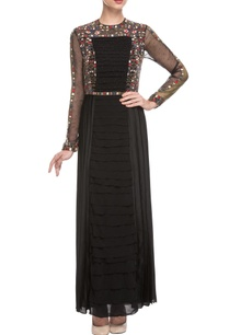 black-pleated-embroidered-maxi