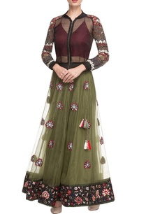 black-bomber-jacket-with-olive-lehenga-skirt