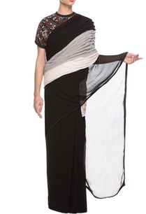 black-cape-blouse-with-pleated-sari