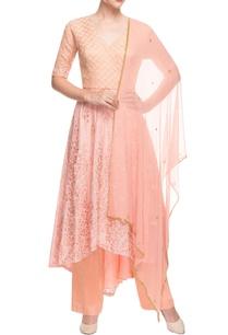 peach-embroidered-asymmetric-kurta-set