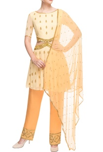 yellow-peach-cut-out-kurta-set