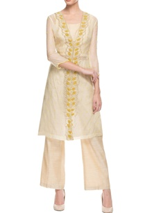 yellow-beige-embroidered-pant-set