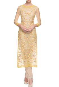 yellow-beige-3d-floral-embroidered-pant-set