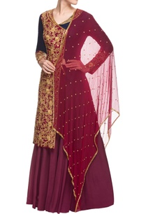 midnight-blue-wine-embroidered-sharara-set