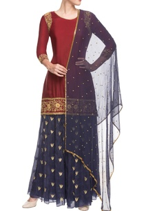 maroon-blue-embroidered-sharara-set