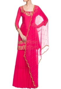 hot-pink-embroidered-sharara-set