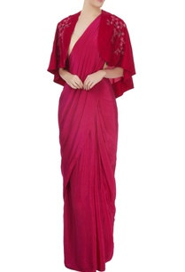 hot-pink-sari-with-blouse-cape