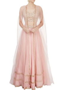 peach-lehengas-with-blouse-jacket