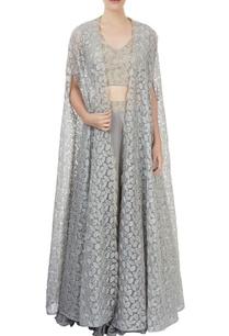 grey-lehenga-blouse-with-cape-jacket