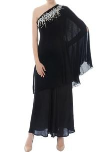 black-one-shoulder-kurta-set