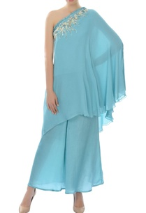 sky-blue-one-shoulder-kurta-set