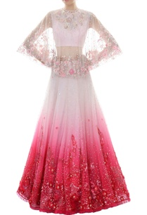 white-fuchsia-ombre-lehenga-set-with-cape
