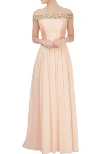 peach-off-shoulder-dress-with-mirror-embellishments
