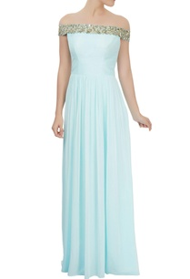 powder-blue-off-shoulder-dress-with-mirror-embellishments