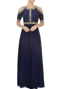 navy-blue-cold-shoulder-pearl-sequin-work-gown