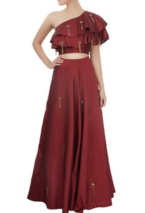 maroon-one-shoulder-crop-top-skirt-set-with-tassels