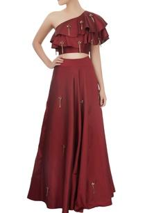 maroon-one-shoulder-crop-top-skirt-set-with-tassels