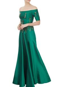 emerald-green-off-shoulder-top-skirt-set-with-tassels