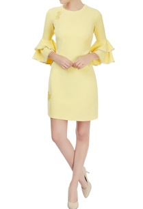 lemon-yellow-ruffled-sleeve-embellished-dress