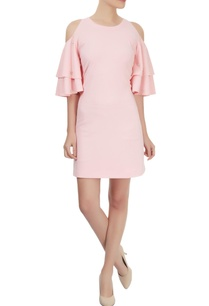 light-pink-ruffled-sleeve-cold-shoulder-dress