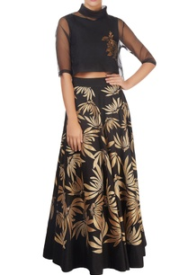black-gold-tissue-applique-skirt