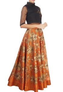 orange-skirt-with-gold-tissue-applique