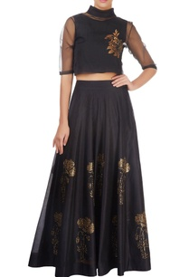 black-paneled-skirt-with-floral-motif