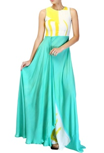 lemon-yellow-aqua-blue-dress