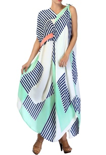 white-shaded-blue-asymmetrical-tie-up-dress