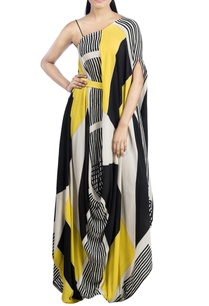 yellow-black-block-printed-dress