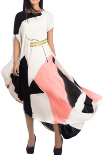 multicolour-draped-dress