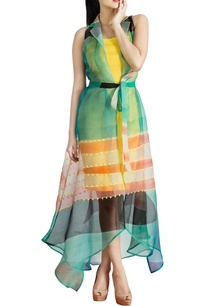 multicolored-collared-dress