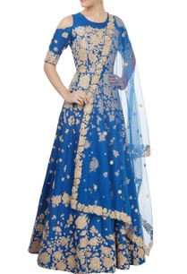 blue-cold-shoulder-anarkali-set
