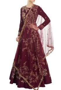 burgundy-embroidered-anarkali-set