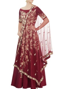 maroon-boat-neck-anarkali-set