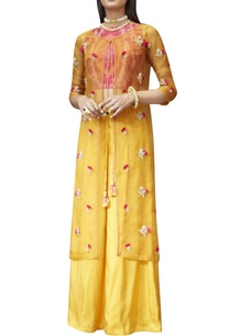 pink-crop-top-with-yellow-palazzo-jacket
