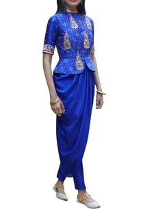 cobalt-blue-peplum-jacket-with-kurta-trousers