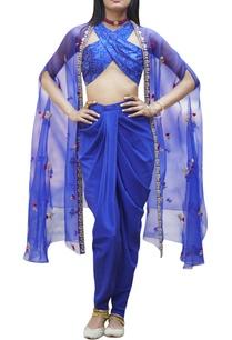 cobalt-blue-top-with-dhoti-pants-jacket