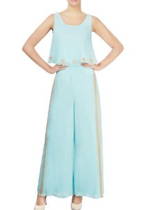 light-blue-embellished-pant-set