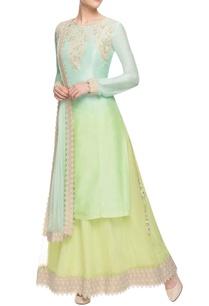mint-green-green-ombre-kurta-set-with-skirt