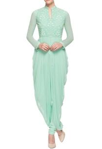 mint-green-cowl-draped-kurta-set