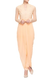 pastel-orange-cowl-draped-kurta-set
