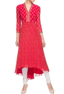 red-asymmetrical-printed-kurta