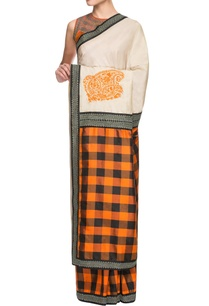 orange-black-checkered-sari