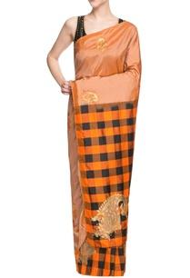 black-orange-embroidered-sari