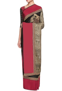 red-black-sari-with-gold-dori-work