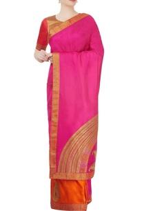 orange-pink-sari-with-paisley-motif