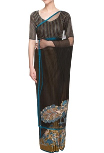 gold-black-sari-with-applique-work