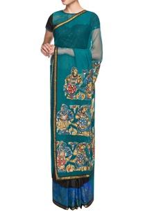 teal-blue-black-embellished-sari
